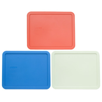 Pyrex 7212-PC Coral, Marine Blue, and White Food Storage Replacement Lid Covers