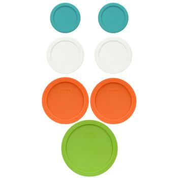 Pyrex (2) 7202-PC Turquoise, (2) 7200-PC White, (2) 7201-PC Orange, (1) 7402-PC Edamame Green Replacement Lids