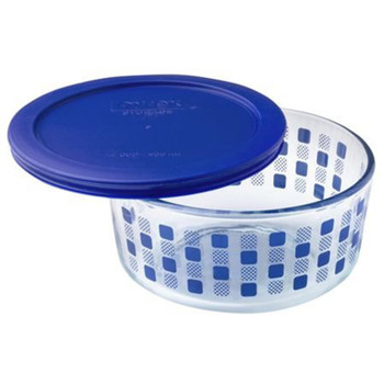 Pyrex Simply Store 4-Cup Blue Square Dots Glass Storage Bowl with Plastic Lid Set (2-Pack)