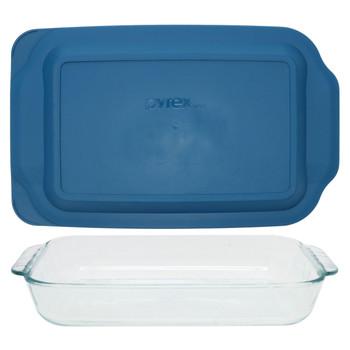 Pyrex (1) 232 2-Quart Rectangle Glass Baking Dish & (1) 232-PC Blue Spruce Plastic Lid