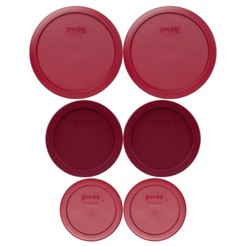Pyrex (2) 7200-PC & (2) 7201-PC & (2) 7402-PC Sangria Red Food Storage Replacement Lids