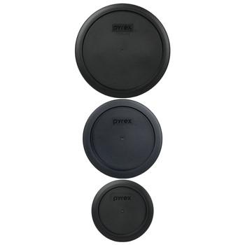 Pyrex (1) 7200-PC & (1) 7201-PC & (1) 7402-PC Black Food Storage Replacement Lids