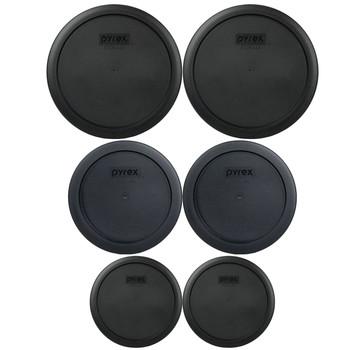 Pyrex (2) 7200-PC & (2) 7201-PC & (2) 7402-PC Black Food Storage Replacement Lids