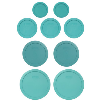 Pyrex (2) 7202-PC, (3) 7200-PC, (2) 7201-PC, & (2) 7402-PC Turquoise Food Storage Replacement Lids