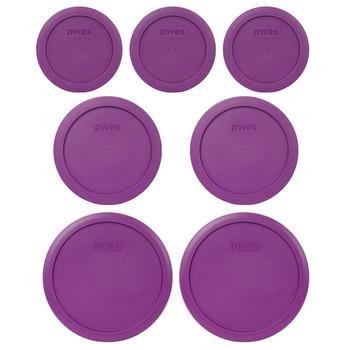 Pyrex (3) 7200-PC, (2) 7201-PC, & (2) 7402-PC Thistle Purple Food Storage Replacement Lids
