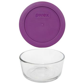 Pyrex (1) 7200 2 Cup Glass Bowl & (1) 7200-PC Thistle Purple Lid
