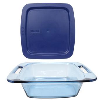 Pyrex (1) C-222 2-Quart Easy Grab Atlantic Blue Glass Baking Dish & (1) C-222-PC Blue Easy Grab Lid