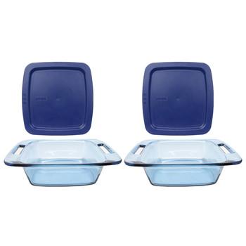 Pyrex (2) C-222 2-Quart Easy Grab Atlantic Blue Glass Baking Dishes & (2) C-222-PC Blue Easy Grab Lids
