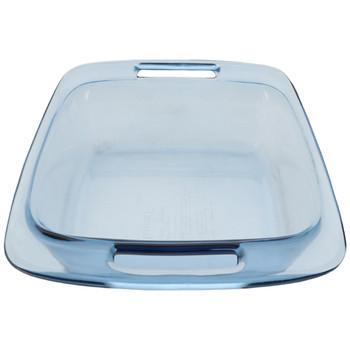 Pyrex (2) C-222 2-Quart Easy Grab Atlantic Blue Glass Baking Dishes & (2) C-222-PC Red Easy Grab Lids