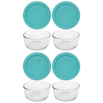 Pyrex (4) 7200 2-Cup Glass Bowls & (4) 7200-PC Turquoise Blue Lids