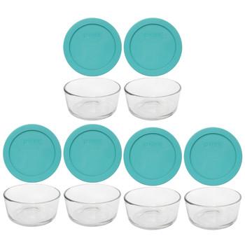Pyrex (6) 7200 2-Cup Glass Bowls & (6) 7200-PC Turquoise Blue Lids