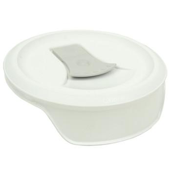 Corningware FM-22 1123827 20oz French White W/Truffle Grey Tab Round Mug Pop-Ins Vented Lid (2-Pack)