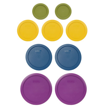Pyrex (2) 7202-PC Olive Green, (3) 7200-PC Butter Yellow, (2) 7201-PC Blue Spruce, (2) 7402-PC Thistle Food Storage Replacement Lids