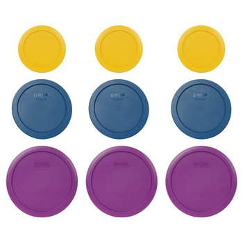 Pyrex (3) 7200-PC Butter Yellow, (3) 7201-PC Blue Spruce, & (3) 7402-PC Thistle Purple Food Storage Replacement Lids