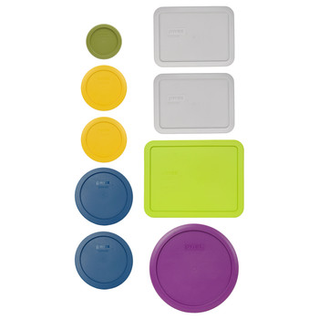 Pyrex (1) 7202-PC Olive Green, (2) 7200-PC Butter Yellow, (2) 7201-PC Blue Spruce, & (2) 7210-PC Jet Gray, (1) 7211-PC Edamame Green, & (1) 7402-PC Thistle Purple Replacement Lids