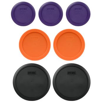 Pyrex (3) 7200-PC Plum Purple, (2) 7201-PC Orange, & (2) 7402-PC Black Plastic Food Storage Replacement Lids