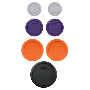 Pyrex (2) 7202-PC Jet Grey, (2) 7200-PC Plum Purple, (2) 7201-PC Orange, & (1) 7402-PC Black Plastic Food Storage Replacement Lids