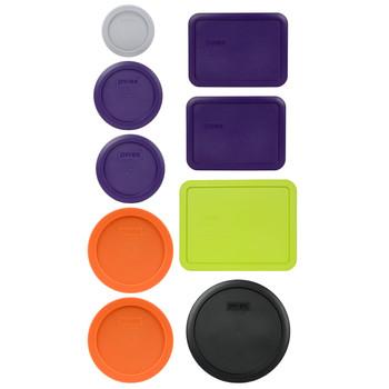 Pyrex (1) 7202-PC Jet Grey, (2) 7200-PC Plum Purple, (2) 7201-PC Orange, (2) 7210-PC Plum Purple, (1) 7211-PC Edamame Green, & (1) 7402-PC Black Replacement Lids