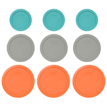 Pyrex (3) 7200-PC Turquoise, (3) 7201-PC Jet Grey, & (3) 7402-PC Orange Plastic Food Storage Replacement Lids