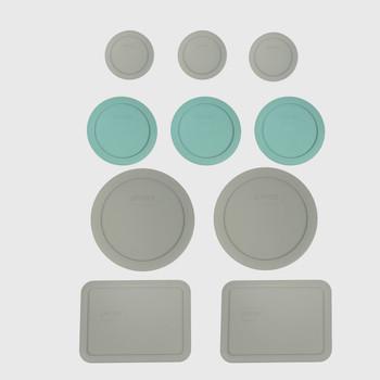 Pyrex (2) 7202-PC Jet Grey, (3) 7200-PC Turquoise, (2) 7201-PC Jet Grey, & (2) 7210-PC Jet Grey Food Storage Replacement Lids