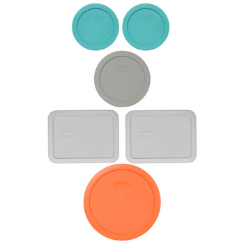 Pyrex (2) 7200-PC Turquoise, (1) 7201-PC Jet Grey, (2) 7210-PC Jet Grey, & (1) 7402-PC Orange Plastic Food Storage Replacement Lids