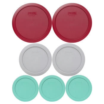 Pyrex (3) 7200-PC Sea Glass Green, (2) 7201-PC Jet Grey, & (2) 7402-PC Sangria Red Plastic Food Storage Replacement Lids