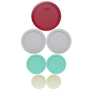 Pyrex (2) 7202-PC Sour Cream, (2) 7200-PC Sea Glass Green, (2) 7201-PC Jet Grey, & (1) 7402-PC Sangria Red Plastic Food Storage Replacement Lids