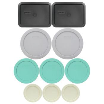 Pyrex (2) 7202-PC Sour Cream, (3) 7200-PC Sea Glass Green, (2) 7201-PC Jet Grey, & (2) 7210-PC Charcoal Grey Food Storage Replacement Lids