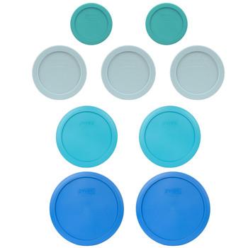 Pyrex (2) 7202-PC Turquoise, (3) 7200-PC Muddy Aqua, (2) 7201-PC Surf Blue, & (2) 7402-PC Marine Blue Food Storage Replacement Lids
