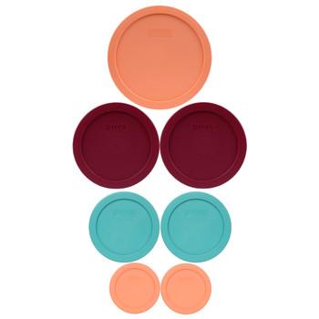 Pyrex (2) 7202-PC Bahama Sunset Orange, (2) 7200-PC Turquoise, (2) 7201-PC Sangria Red, & (1) 7402-PC Bahama Sunset Orange Food Storage Replacement Lids
