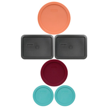 Pyrex (2) 7200-PC Turquoise, (1) 7201-PC Sangria Red, (2) 7210-PC Charcoal Grey, & (1) 7402-PC Bahama Sunset Orange Plastic Food Storage Replacement Lids