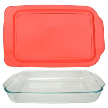 Pyrex (1) 234 4-Quart Rectangle Glass Baking Casserole Dish & (1) 234-PC Red Plastic Lid Cover