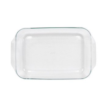 Pyrex (2) 234 4-Quart Rectangle Glass Baking Casserole Dishes & (2) 234-PC Red Plastic Lid Covers