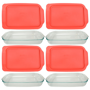 Pyrex (4) 234 4-Quart Rectangle Glass Baking Casserole Dishes & (4) 234-PC Red Plastic Lid Covers