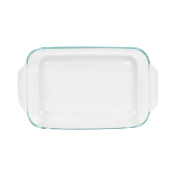 Pyrex (4) 232 2-Quart Rectangle Glass Baking Dishes & (4) 232-PC Blue Spruce Plastic Lids