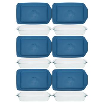 Pyrex (6) 232 2-Quart Rectangle Glass Baking Dishes & (6) 232-PC Blue Spruce Plastic Lids