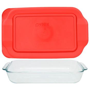 Pyrex (1) 232 2-Quart Rectangle Glass Baking Dish & (1) 232-PC Red Plastic Lid