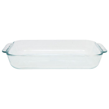 Pyrex (2) 232 2-Quart Rectangle Glass Baking Dishes & (2) 232-PC Red Plastic Lid Covers