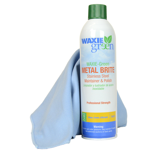Waxie Green 16 ounce Metal Polish and One Waxie Blue Microfiber Cloth