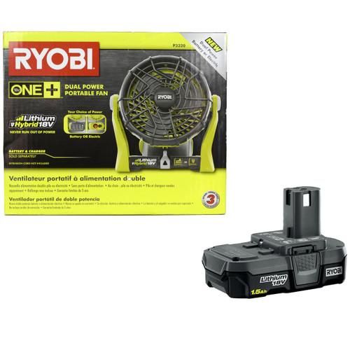 Ryobi P3320 18V Lithium-Ion Portable Fan and (1) Ryobi P189 18V 1.5 Ah Li-Ion Battery Pack