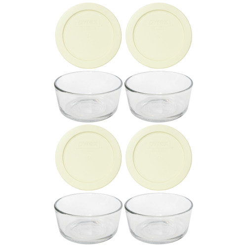 Pyrex Simply Store 7200 2-Cup Glass Storage Bowl and 7200-PC 2-Cup Sour Cream Lid Cover (4-Pack)