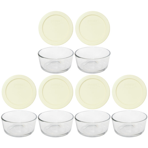 Pyrex Simply Store 7200 2-Cup Glass Storage Bowl and 7200-PC 2-Cup Sour Cream Lid Cover (6-Pack)