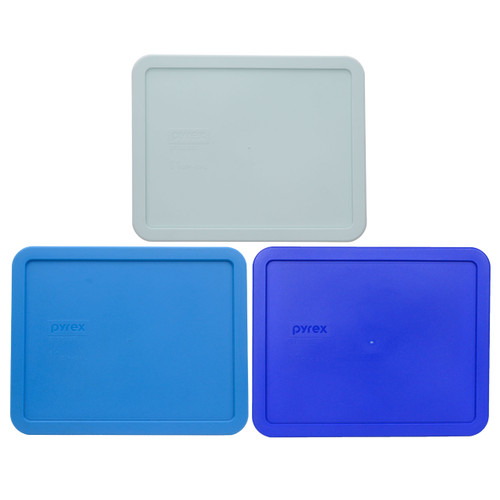 Pyrex 7212-PC Muddy Aqua, Marine Blue, and Cadet Blue Food Storage Replacement Lid Covers