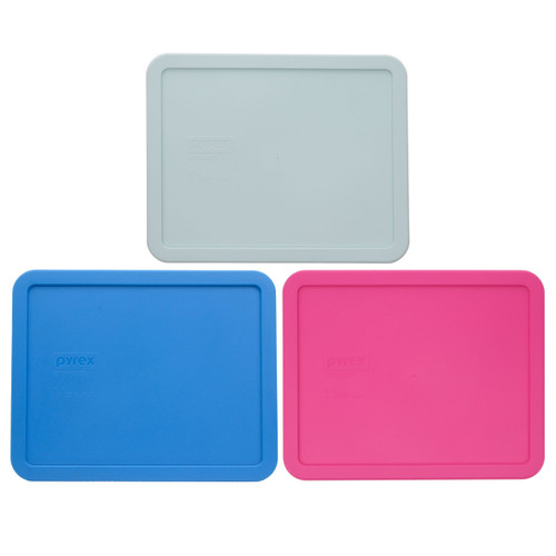 Pyrex 7212-PC Muddy Aqua, Marine Blue, and Pink Food Storage Replacement Lid Covers