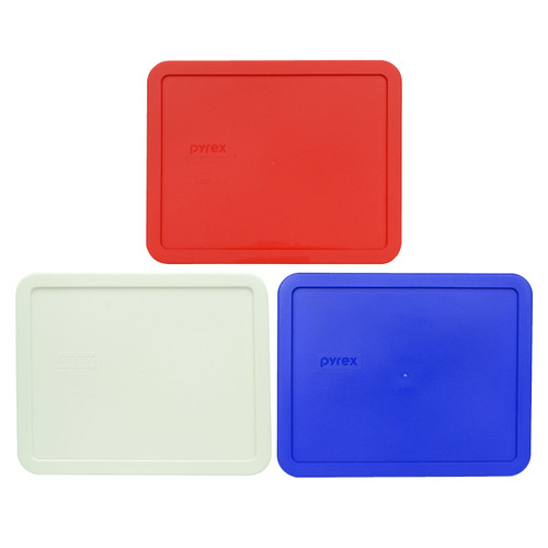Pyrex 7212-PC Red, White, and Cadet Blue Food Storage Replacement Lid Covers