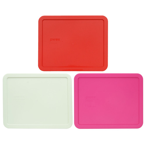 Pyrex 7212-PC Red, White, and Pink Food Storage Replacement Lid Covers