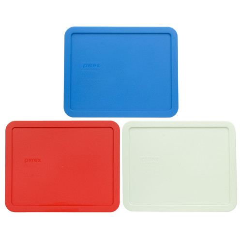 Pyrex 7212-PC Marine Blue, Red, and White Food Storage Replacement lid Covers