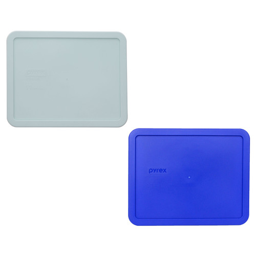 Pyrex 7212-PC (1) Muddy Aqua and (1) Cadet Blue Food Storage Replacement lid Cover