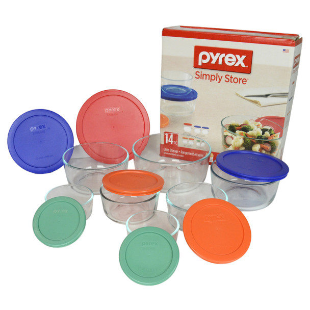 Pyrex 14pc Glass Storage Bowl Set with Colorful BPA-Free Round Plastic Lids