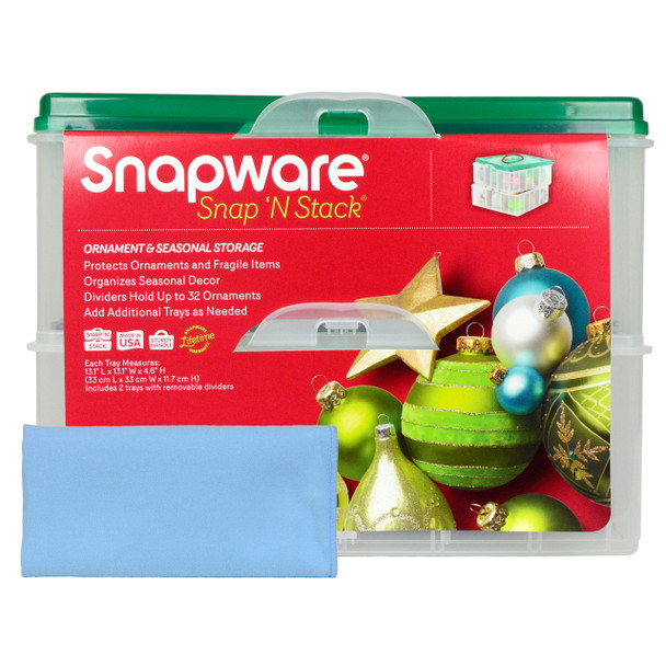 Snapware 2-Layer Ornament Keeper with Blue Microfiber Polishing Cloth